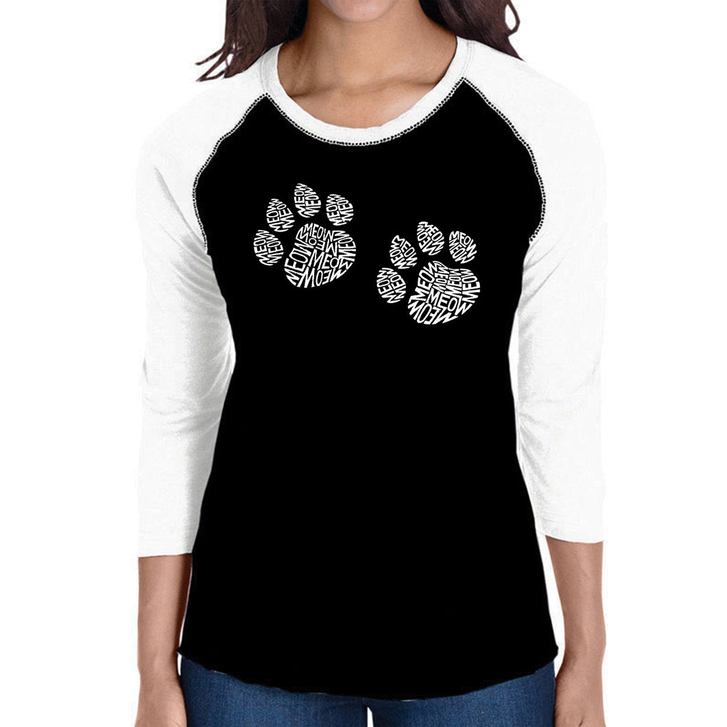 LA Pop Art Women's Raglan Baseball Word Art T-shirt - Meow Cat Prints