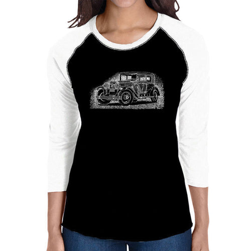LA Pop Art Women's Raglan Baseball Word Art T-shirt - Legendary Mobsters