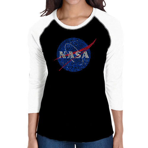 LA Pop Art Women's Raglan Baseball Word Art T-shirt - NASA's Most Notable Missions
