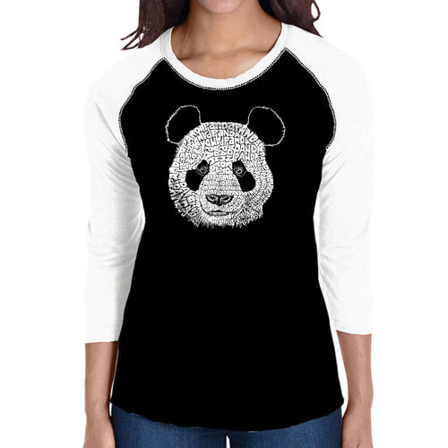 LA Pop Art Women's Raglan Baseball Word Art T-shirt - Panda