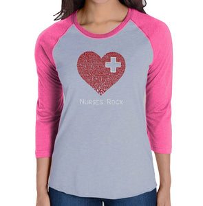 LA Pop Art Women's Raglan Baseball Word Art T-shirt - Nurses Rock