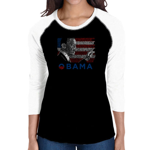 LA Pop Art Women's Raglan Baseball Word Art T-shirt - BARACK OBAMA - ALL LYRICS TO AMERICA THE BEAUTIFUL
