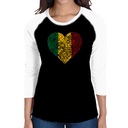 LA Pop Art Women's Raglan Baseball Word Art T-shirt - One Love Heart