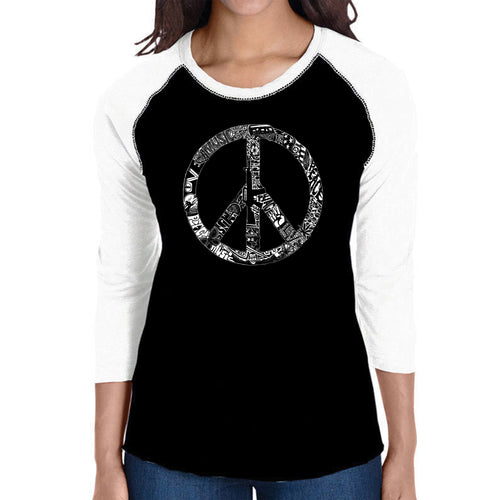 LA Pop Art Women's Raglan Baseball Word Art T-shirt - PEACE, LOVE, & MUSIC