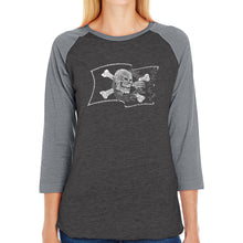 Load image into Gallery viewer, LA Pop Art Women's Raglan Baseball Word Art T-shirt - FAMOUS PIRATE CAPTAINS AND SHIPS
