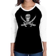 Load image into Gallery viewer, LA Pop Art Women's Raglan Baseball Word Art T-shirt - PIRATE CAPTAINS, SHIPS AND IMAGERY