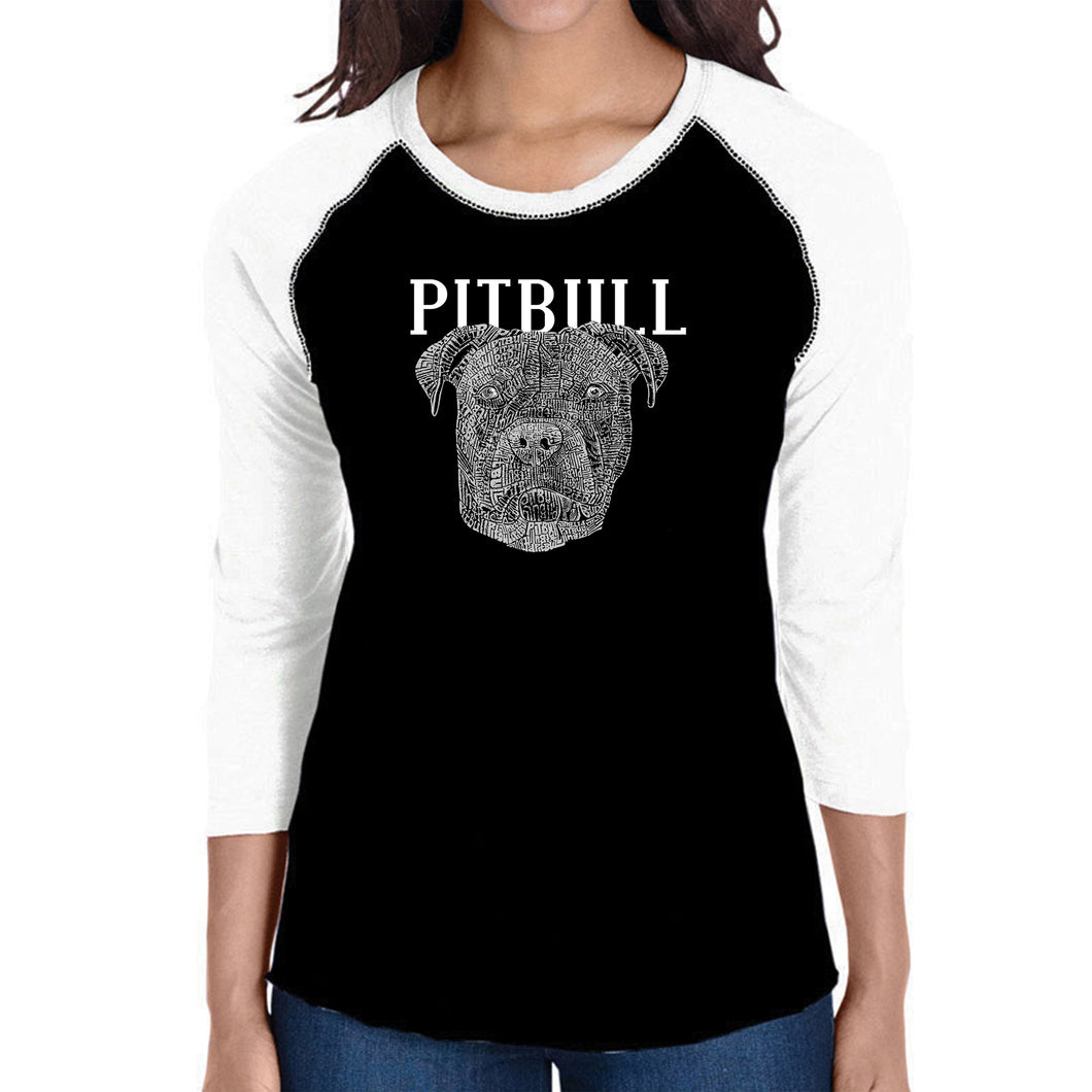 LA Pop Art Women's Raglan Baseball Word Art T-shirt - Pitbull Face