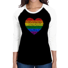 Load image into Gallery viewer, LA Pop Art Women's Raglan Baseball Word Art T-shirt - Pride Heart