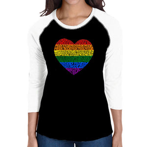 LA Pop Art Women's Raglan Baseball Word Art T-shirt - Pride Heart