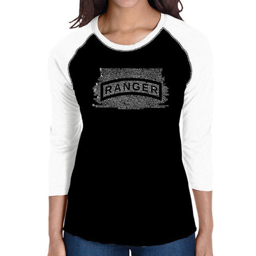 LA Pop Art Women's Raglan Baseball Word Art T-shirt - The US Ranger Creed