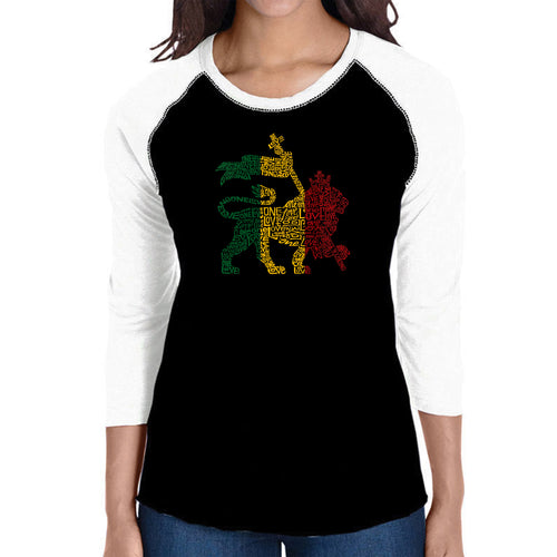 LA Pop Art Women's Raglan Baseball Word Art T-shirt - Rasta Lion - One Love