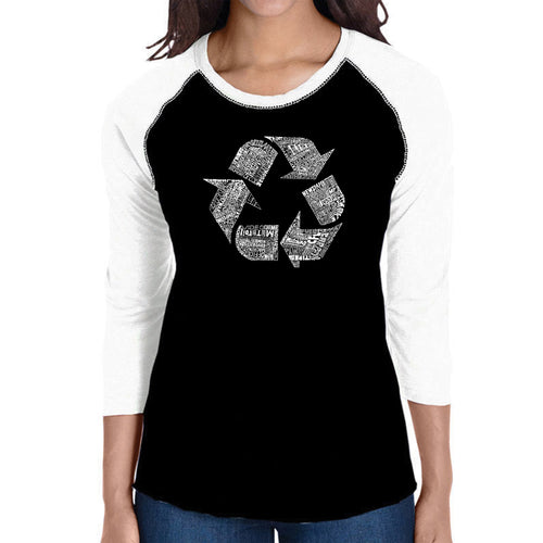 LA Pop Art Women's Raglan Baseball Word Art T-shirt - 86 RECYCLABLE PRODUCTS