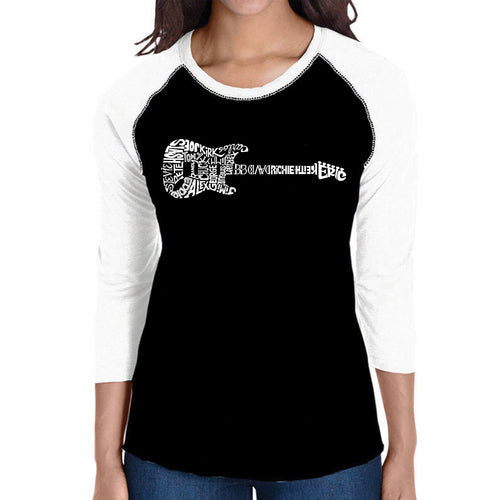LA Pop Art Women's Raglan Baseball Word Art T-shirt - Rock Guitar