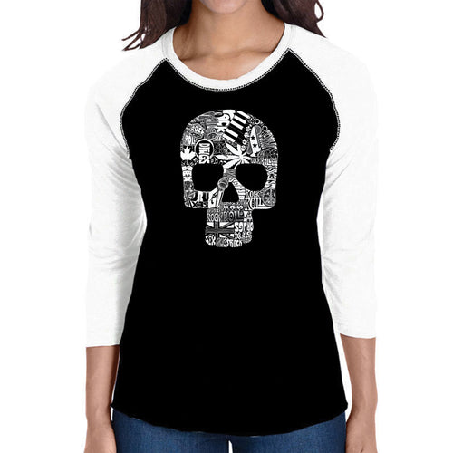 LA Pop Art Women's Raglan Baseball Word Art T-shirt - Sex, Drugs, Rock & Roll