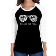 Load image into Gallery viewer, LA Pop Art Women's Raglan Baseball Word Art T-shirt - California Shades