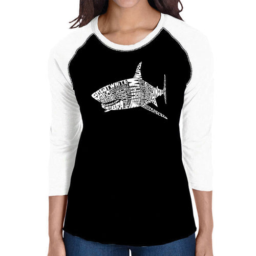 LA Pop Art Women's Raglan Baseball Word Art T-shirt - SPECIES OF SHARK