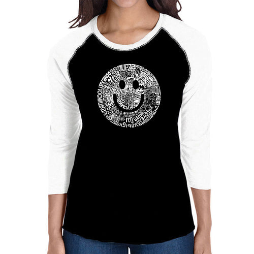 LA Pop Art Women's Raglan Baseball Word Art T-shirt - SMILE IN DIFFERENT LANGUAGES