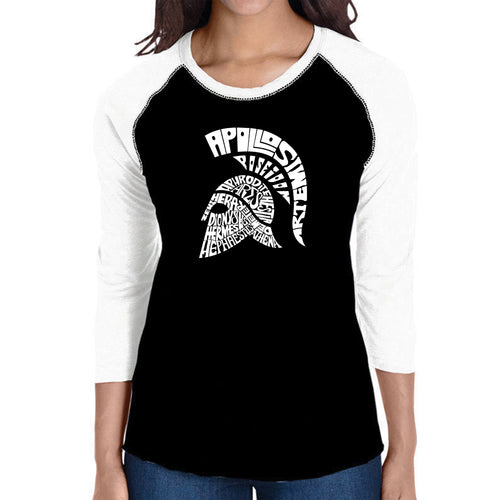 LA Pop Art Women's Raglan Baseball Word Art T-shirt - SPARTAN