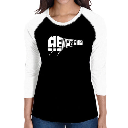 LA Pop Art Women's Raglan Baseball Word Art T-shirt - NY SUBWAY