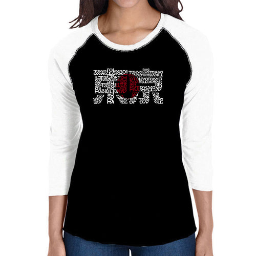 LA Pop Art Women's Raglan Baseball Word Art T-shirt - Tokyo Sun