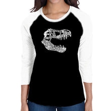 Load image into Gallery viewer, LA Pop Art Women's Raglan Baseball Word Art T-shirt - TREX