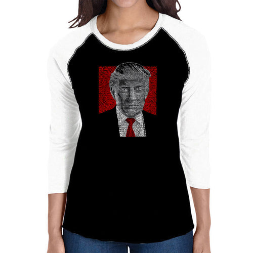 LA Pop Art Women's Raglan Baseball Word Art T-shirt - TRUMP 2016 - Make America Great Again