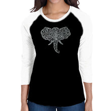 Load image into Gallery viewer, LA Pop Art Women's Raglan Baseball Word Art T-shirt - Tusks