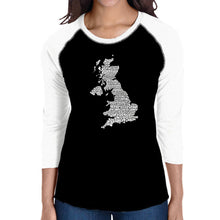 Load image into Gallery viewer, LA Pop Art Women's Raglan Baseball Word Art T-shirt - GOD SAVE THE QUEEN
