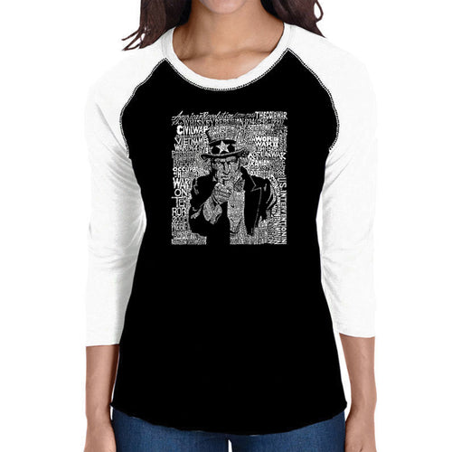LA Pop Art Women's Raglan Baseball Word Art T-shirt - UNCLE SAM