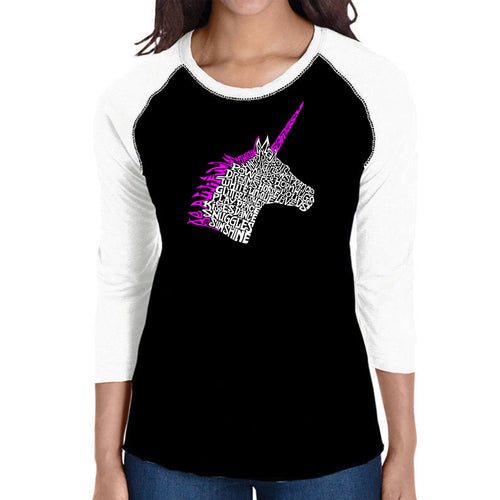 LA Pop Art Women's Raglan Baseball Word Art T-shirt - Unicorn