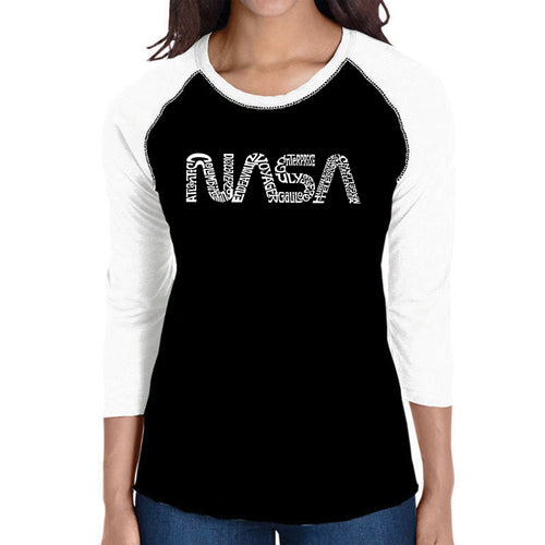 LA Pop Art Women's Raglan Baseball Word Art T-shirt - Worm Nasa