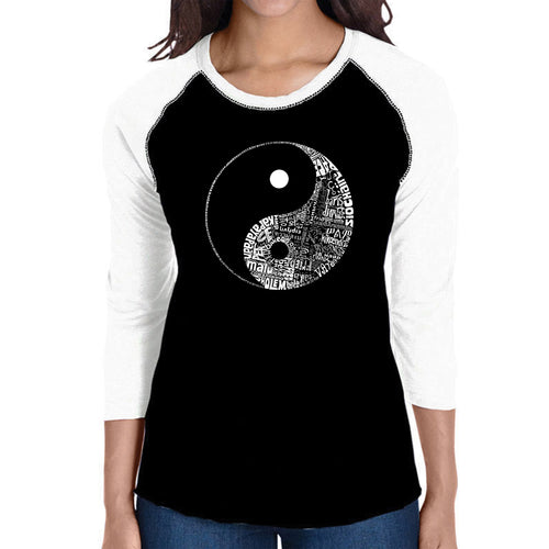 LA Pop Art Women's Raglan Baseball Word Art T-shirt - YIN YANG