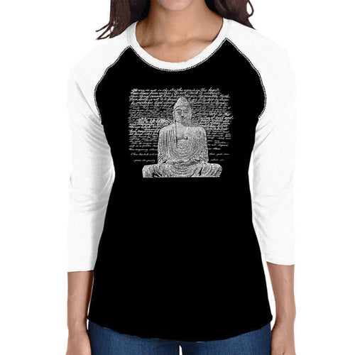 LA Pop Art Women's Raglan Baseball Word Art T-shirt - Zen Buddha