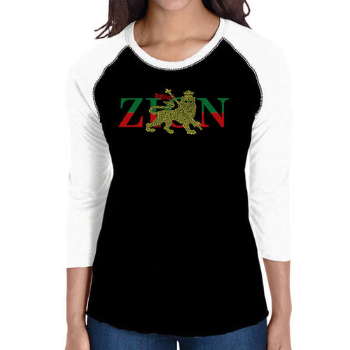 LA Pop Art Women's Raglan Baseball Word Art T-shirt - Zion - One Love