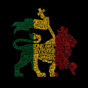 LA Pop Art Men's Word Art Tank Top - Rasta Lion - One Love