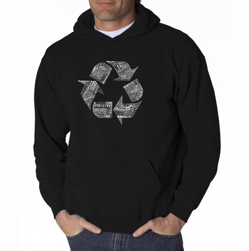 LA Pop Art Men's Word Art Hooded Sweatshirt - 86 RECYCLABLE PRODUCTS
