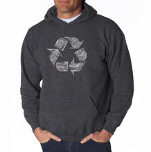 Load image into Gallery viewer, LA Pop Art Men's Word Art Hooded Sweatshirt - 86 RECYCLABLE PRODUCTS
