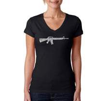 Load image into Gallery viewer, LA Pop Art Women's Word Art V-Neck T-Shirt - RIFLEMANS CREED