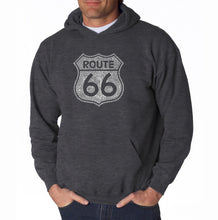 Load image into Gallery viewer, LA Pop Art Men's Word Art Hooded Sweatshirt - CITIES ALONG THE LEGENDARY ROUTE 66