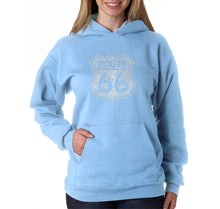 Load image into Gallery viewer, LA Pop Art Women's Word Art Hooded Sweatshirt -CITIES ALONG THE LEGENDARY ROUTE 66