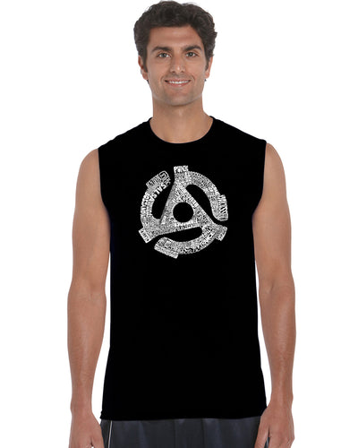 LA Pop Art Men's Word Art Sleeveless T-shirt - Record Adapter
