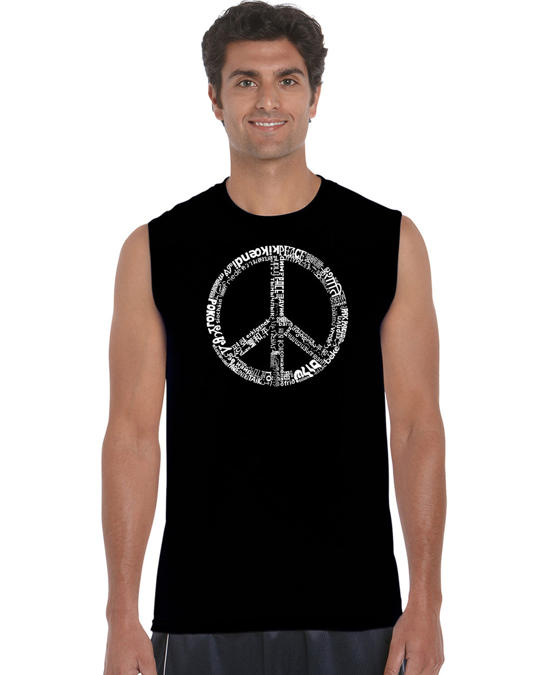 LA Pop Art Men's Word Art Sleeveless T-shirt - THE WORD PEACE IN 77 LANGUAGES