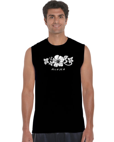 LA Pop Art Men's Word Art Sleeveless T-shirt - ALOHA