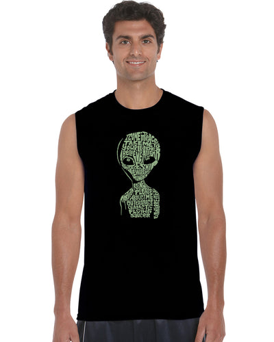 LA Pop Art Men's Word Art Sleeveless T-shirt - Alien