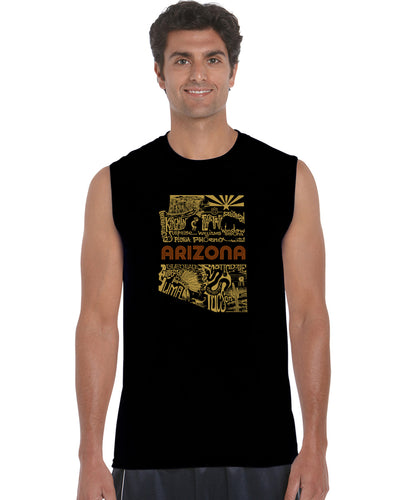 LA Pop Art Men's Word Art Sleeveless T-shirt - Az Pics