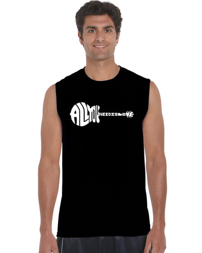 LA Pop Art Men's Word Art Sleeveless T-shirt - All You Need Is Love