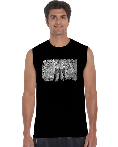 LA Pop Art Men's Word Art Sleeveless T-shirt - Brooklyn Bridge
