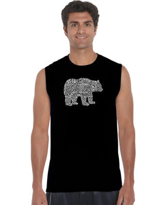 LA Pop Art Men's Word Art Sleeveless T-shirt - Bear Species