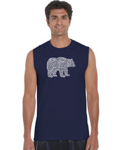 Load image into Gallery viewer, LA Pop Art Men's Word Art Sleeveless T-shirt - Bear Species
