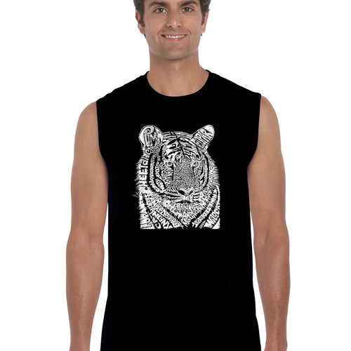 LA Pop Art  Men's Word Art Sleeveless T-shirt - Big Cats